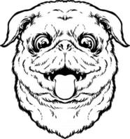 Cute pug dog sticking tongue outline Silhouette vector