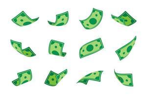 billetes de un dólar cayendo desde arriba. multimillonario gana mucho dinero vector