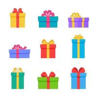 Colorful gift boxes decorated with beautiful ribbon bows. vector