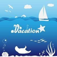 Seascape Illustration with Sailboat and Underwater Life vector