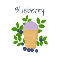 Blueberry Ice Cream in Waffle Cup with Blueberry Leaves and Berries vector