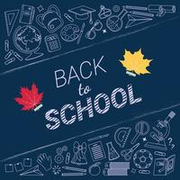 Back to School Banner with School Icons vector