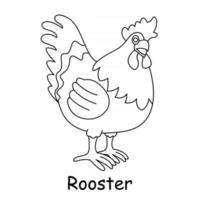 children coloring on the theme of animal vector, rooster vector