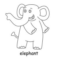 children coloring on the theme of animal vector, elephant vector