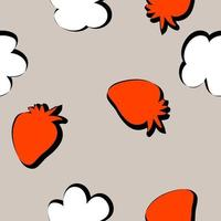 Silhouette red strawberries and white flowers doodle seamless pattern vector