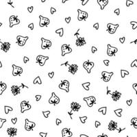 Doodle strawberries, flowers and hearts monochrome seamless pattern vector