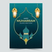 realistic islamic new year poster illustration with golden lantern vector