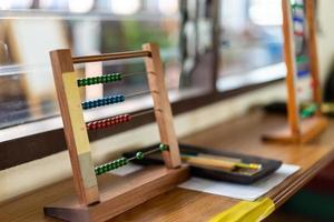 Montessori material for training the development of children in Preschool Classroom photo