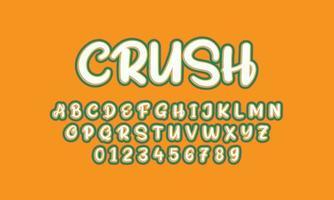 crush font alphabet vector