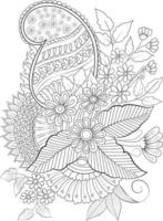Adult Coloring page Vector flower for coloring. Floral print flower