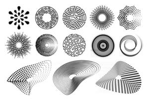 circle design elements and shapes. Halftone flowing liquid dot pattern vector