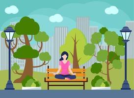 Outdoor, eco yoga. Meditation, Yoga practice in the city park. vector