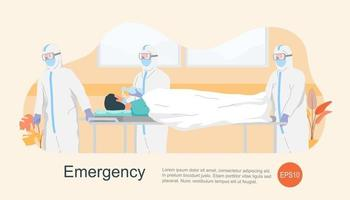 Nurse and doctor with protector clothing in a hurry taking patient. vector