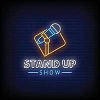 stand up show letreros de neón estilo vector de texto