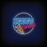 Singing Contest Neon Signs Style Vector