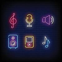 símbolo de la música letreros de neón estilo vector