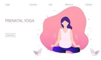 Pregnant yoga concept vector for landing page. Zen relax