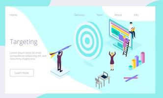 Big target with tiny managers and employees engaged vector
