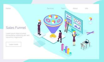 Sales funnel isometric concept vector with tiny people, diagram