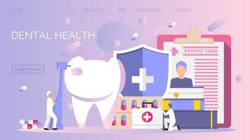 Tiny dentists work, treat illness tooth. Dental health vector concept