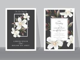Beautiful Floral wedding invitation cards vector