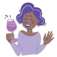 Cartoon female character with a glass of wine vector