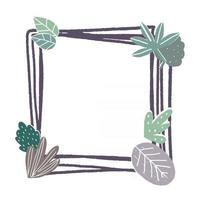Square frame decorated with leaves vector