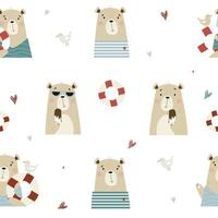 Seamless pattern with cute bears, Sailor with seagull vector
