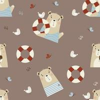 Seamless pattern with bears - sailor with a seagull vector