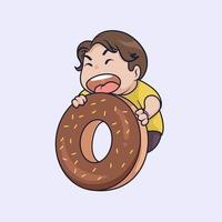 Cute boy eating big donut illustration vector
