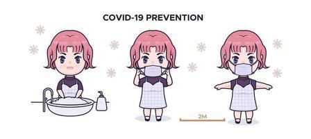 Cute chibi girl covid 19 prevention infographic illustration vector