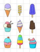 Set of ice cream design vector
