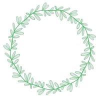 Green circular wreath of leaves vector illustration