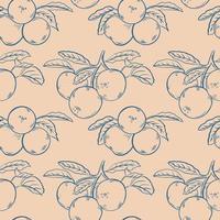 Sketch apples seamless pattern vector illustration