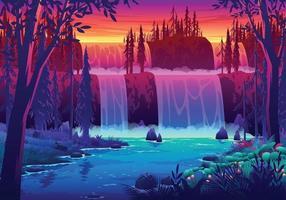 Sunset Waterfall Landscape Illustration vector