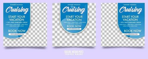 Cruise Travel Agent Social Media Post Template Vector