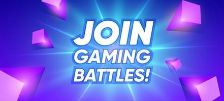 Gaming battles banner cartoon concept. Join cyber presentation border vector