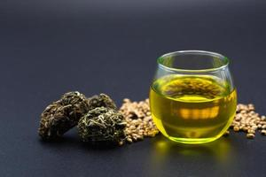 CBD oil hemp products, Medicinal cannabis with extract oil in a bottle. Medical cannabis concept photo