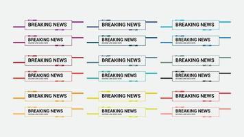 TV News bar set lower third bector. Streaming video news sign vector