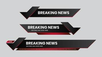 Lower third vector red futuristic design template
