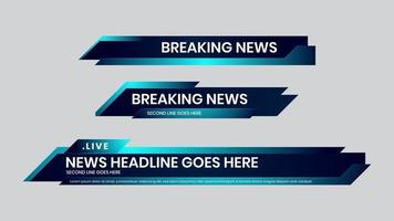 Lower third vector blue design template. Set of TV banner and bars.