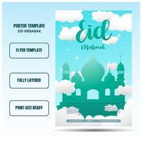 eid mubarak flyer or social media templates with skyblue backgrounds vector