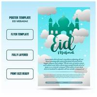 eid mubarak flyer templates with skyblue backgrounds vector