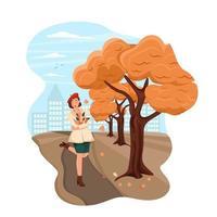 niña en un abrigo y boina caminando en el parque de otoño paisaje otoñal vector