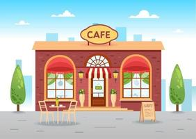 Summer cafe with a table. Coffee shop. Vector flat illustration
