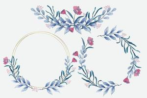 Blue Floral Frames in Watercolor Style vector