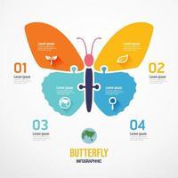 Butterfly shape jigsaw banner. zero waste Design infographic vector