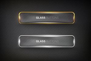 glass Button web set on black vector