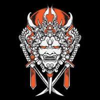 Demon Mask with Samurai vector