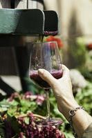 Filling a glass with wine photo